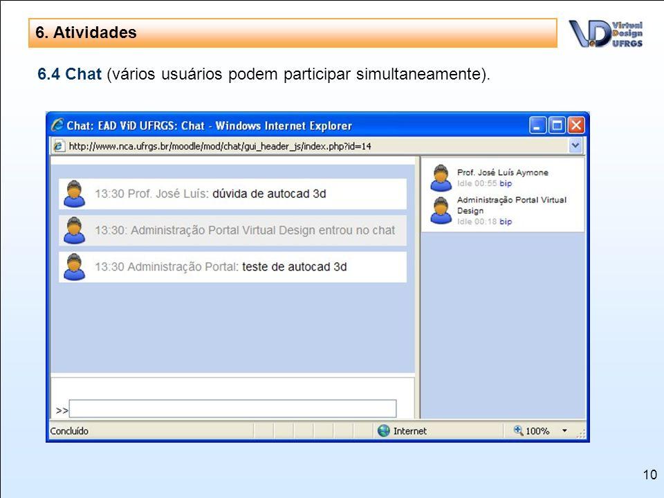 6. Atividades 6.4 Chat (vários usuários podem participar simultaneamente).