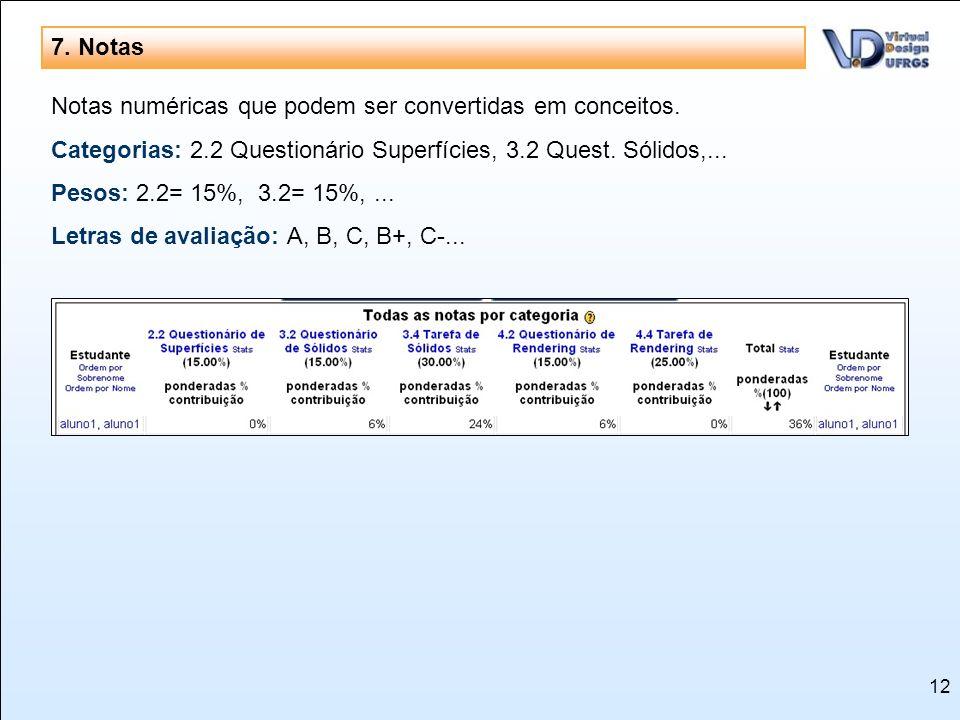 7. NotasNotas numéricas que podem ser convertidas em conceitos. Categorias: 2.2 Questionário Superfícies, 3.2 Quest. Sólidos,...