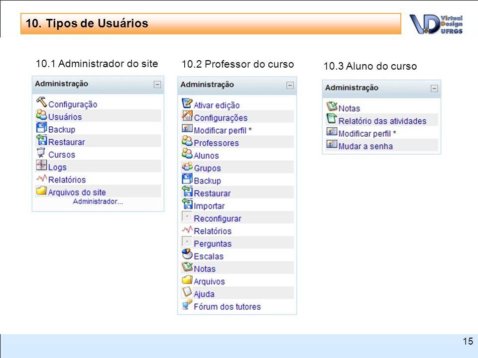 S N 10. Tipos de Usuários 10.1 Administrador do site
