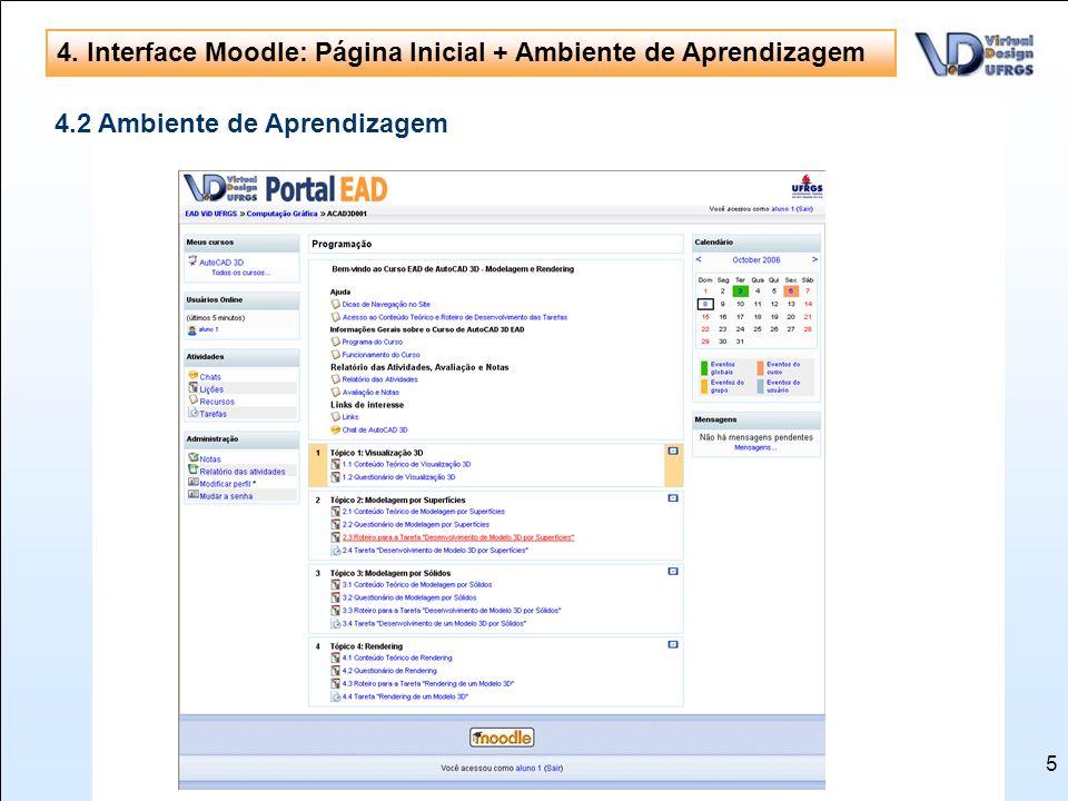 4. Interface Moodle: Página Inicial + Ambiente de Aprendizagem