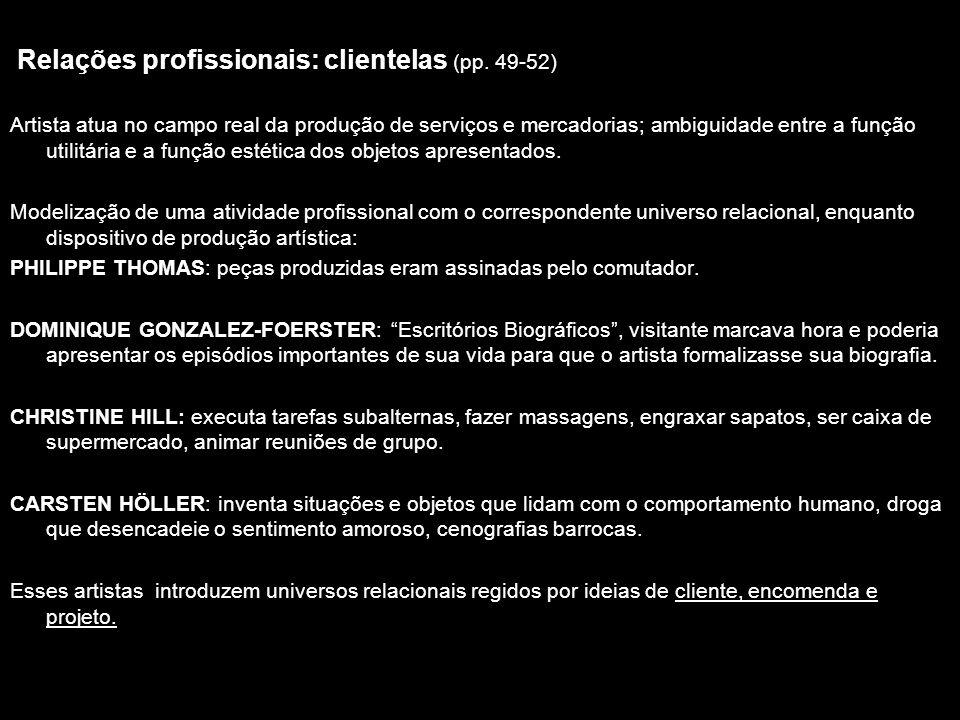 Relações profissionais: clientelas (pp. 49-52)