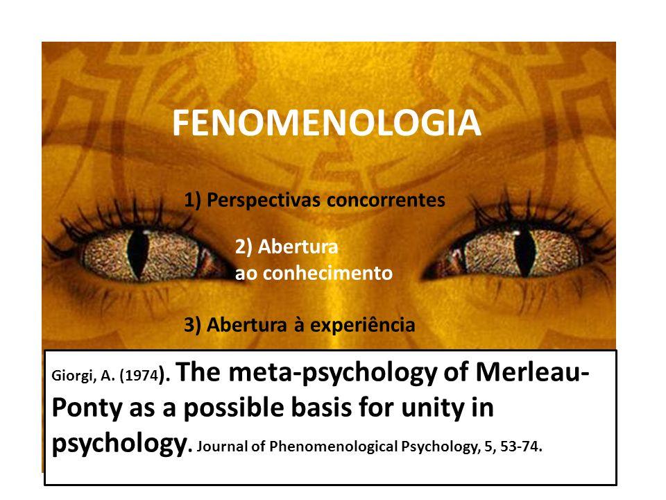 FENOMENOLOGIA 1) Perspectivas concorrentes 2) Abertura ao conhecimento