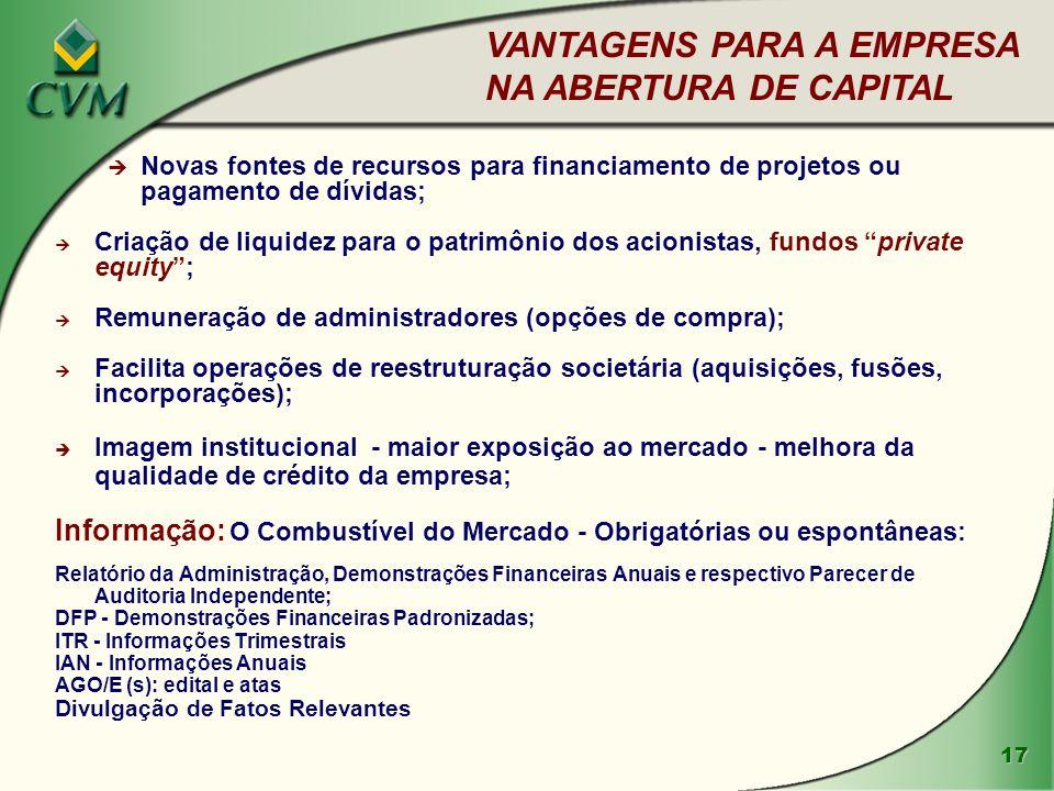 VANTAGENS PARA A EMPRESA NA ABERTURA DE CAPITAL