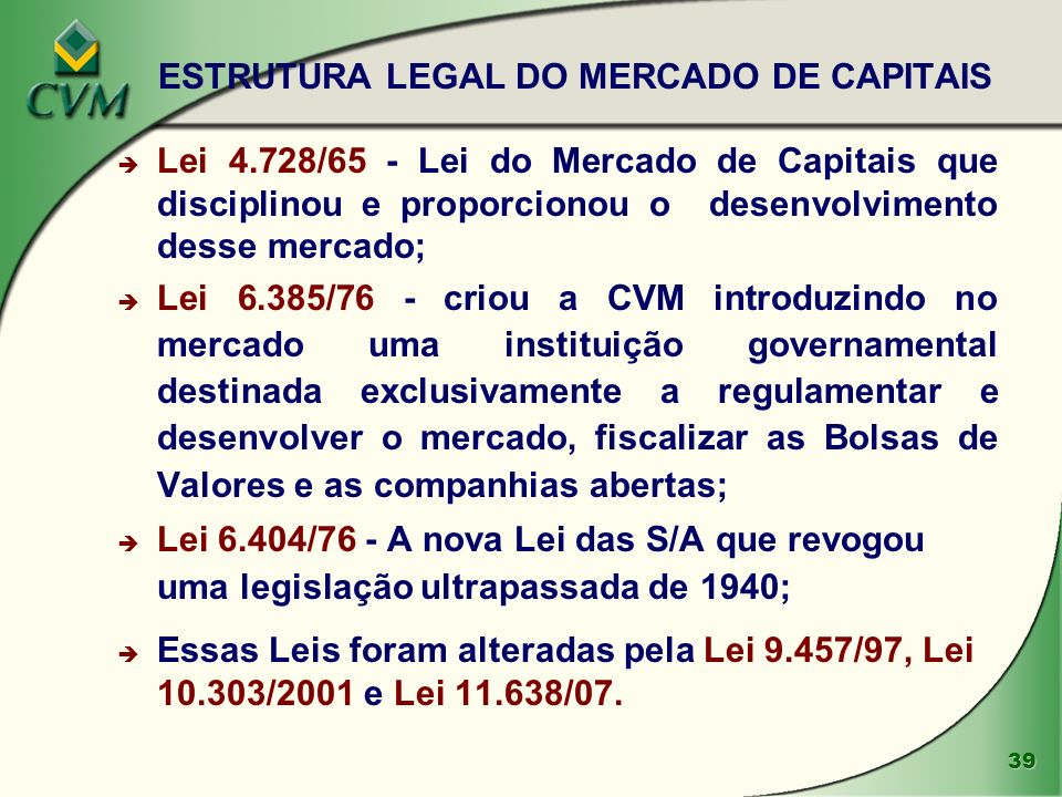 ESTRUTURA LEGAL DO MERCADO DE CAPITAIS