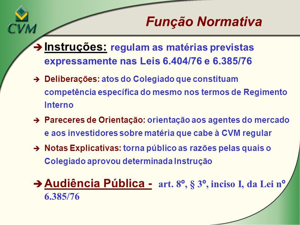 Função Normativa Instruções: regulam as matérias previstas expressamente nas Leis 6.404/76 e 6.385/76.