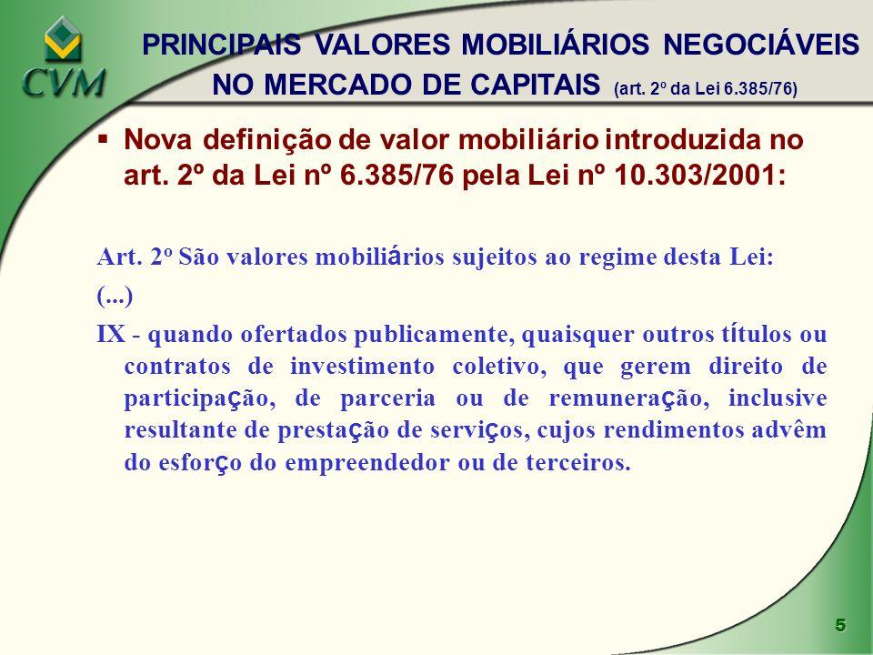 PRINCIPAIS VALORES MOBILIÁRIOS NEGOCIÁVEIS