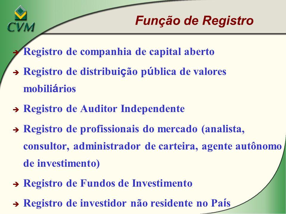 Função de Registro Registro de companhia de capital aberto