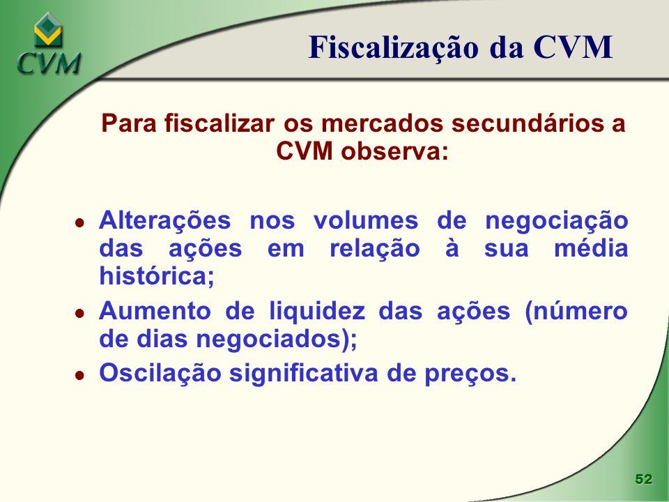 Para fiscalizar os mercados secundários a CVM observa: