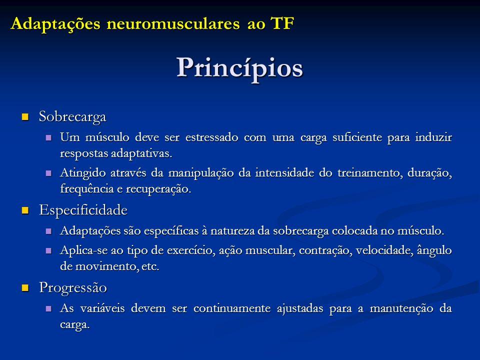 Princípios Adaptações neuromusculares ao TF Sobrecarga Especificidade