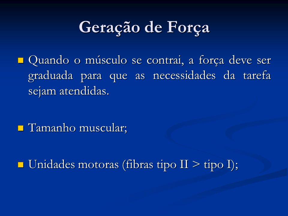 Geração de Força Quando o músculo se contrai, a força deve ser graduada para que as necessidades da tarefa sejam atendidas.