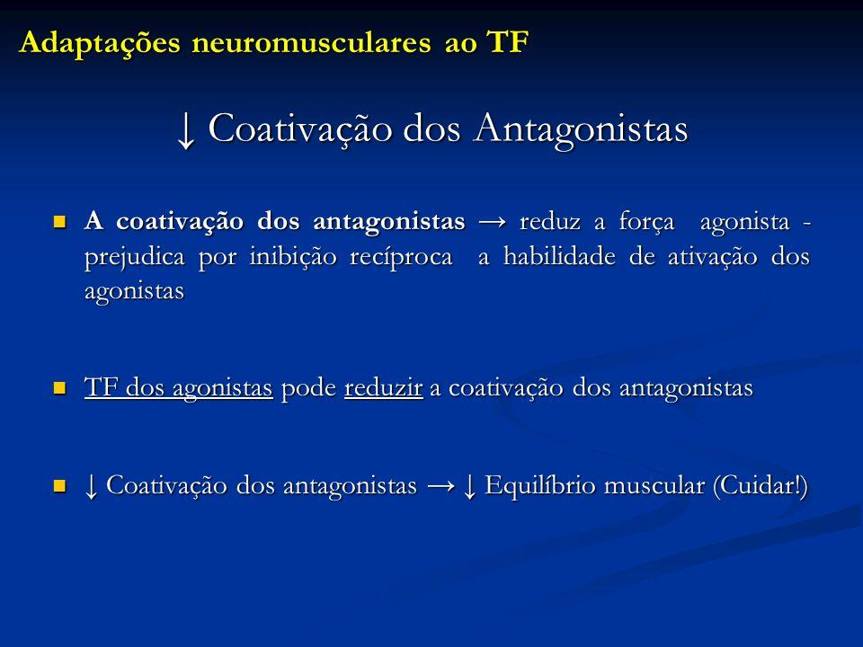 ↓ Coativação dos Antagonistas