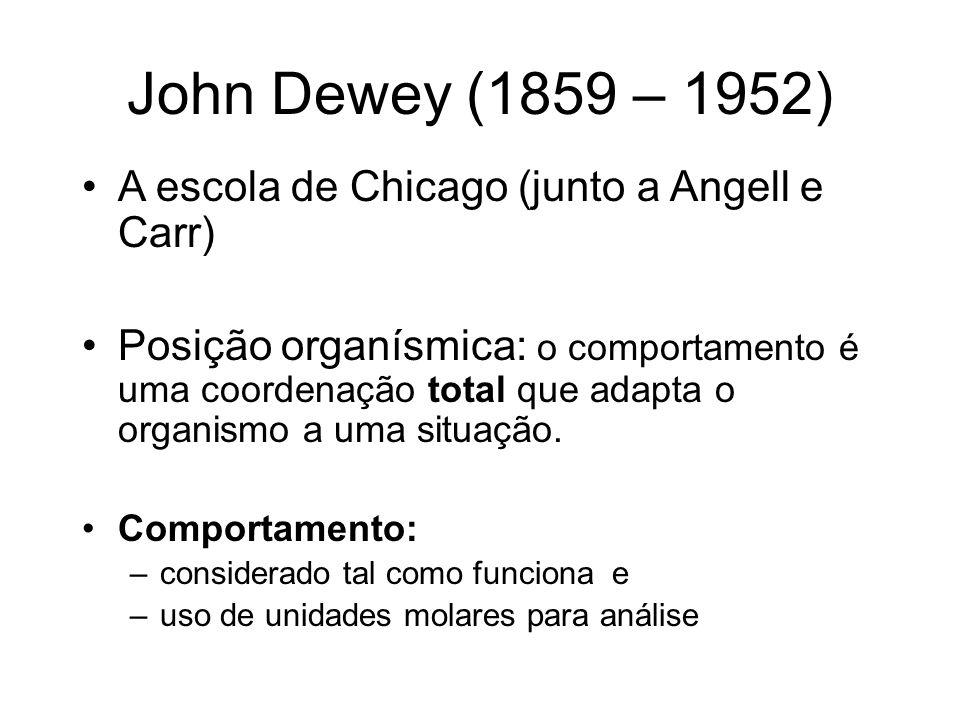 John Dewey (1859 – 1952) A escola de Chicago (junto a Angell e Carr)