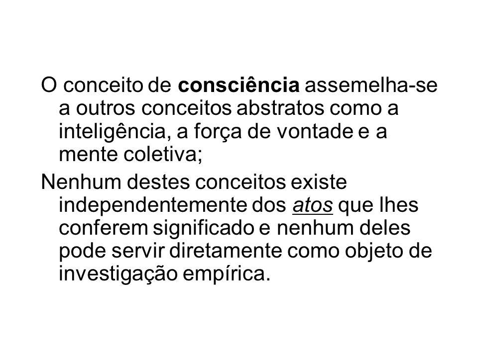 O conceito de consciência assemelha-se a outros conceitos abstratos como a inteligência, a força de vontade e a mente coletiva;