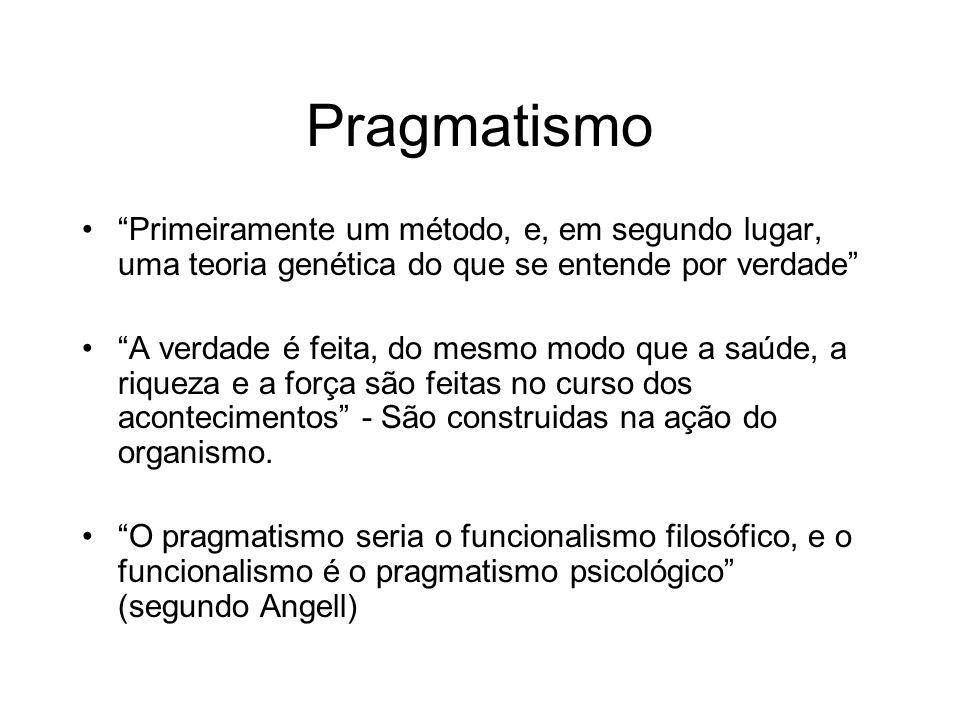 Pragmatismo Primeiramente um método, e, em segundo lugar, uma teoria genética do que se entende por verdade