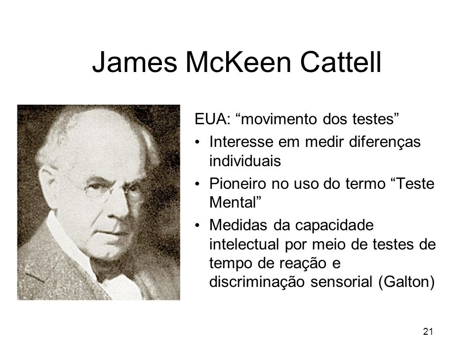 James McKeen Cattell EUA: movimento dos testes