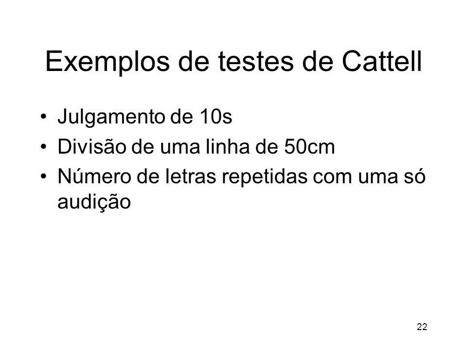 Exemplos de testes de Cattell