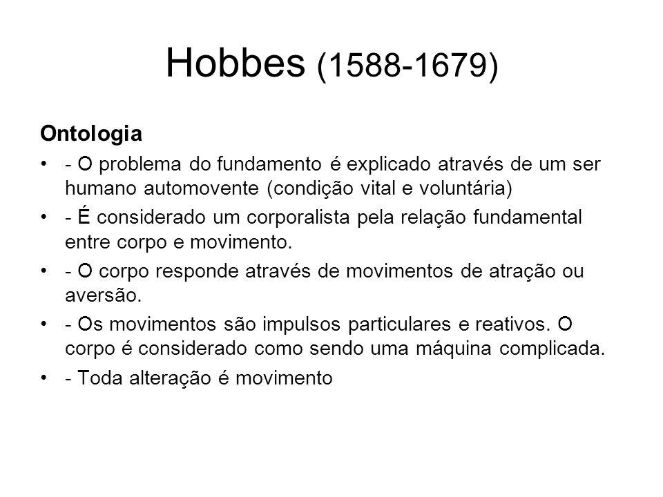 Hobbes (1588-1679) Ontologia. - O problema do fundamento é explicado através de um ser humano automovente (condição vital e voluntária)