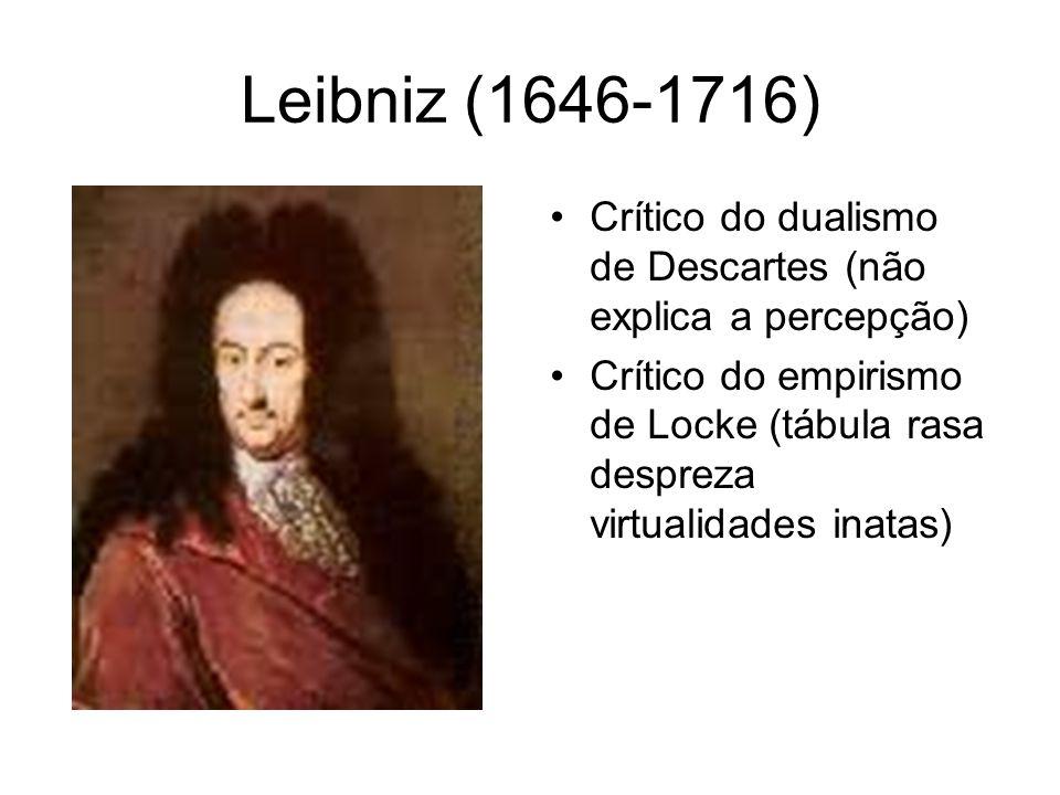 Leibniz (1646-1716) Crítico do dualismo de Descartes (não explica a percepção)