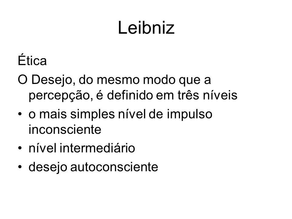 Leibniz Ética. O Desejo, do mesmo modo que a percepção, é definido em três níveis. o mais simples nível de impulso inconsciente.