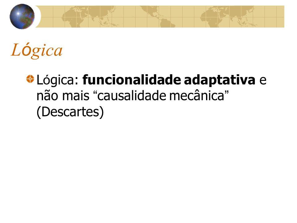 Lógica Lógica: funcionalidade adaptativa e não mais causalidade mecânica (Descartes)