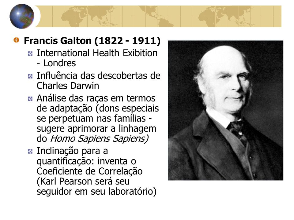 Francis Galton (1822 - 1911) International Health Exibition - Londres. Influência das descobertas de Charles Darwin.