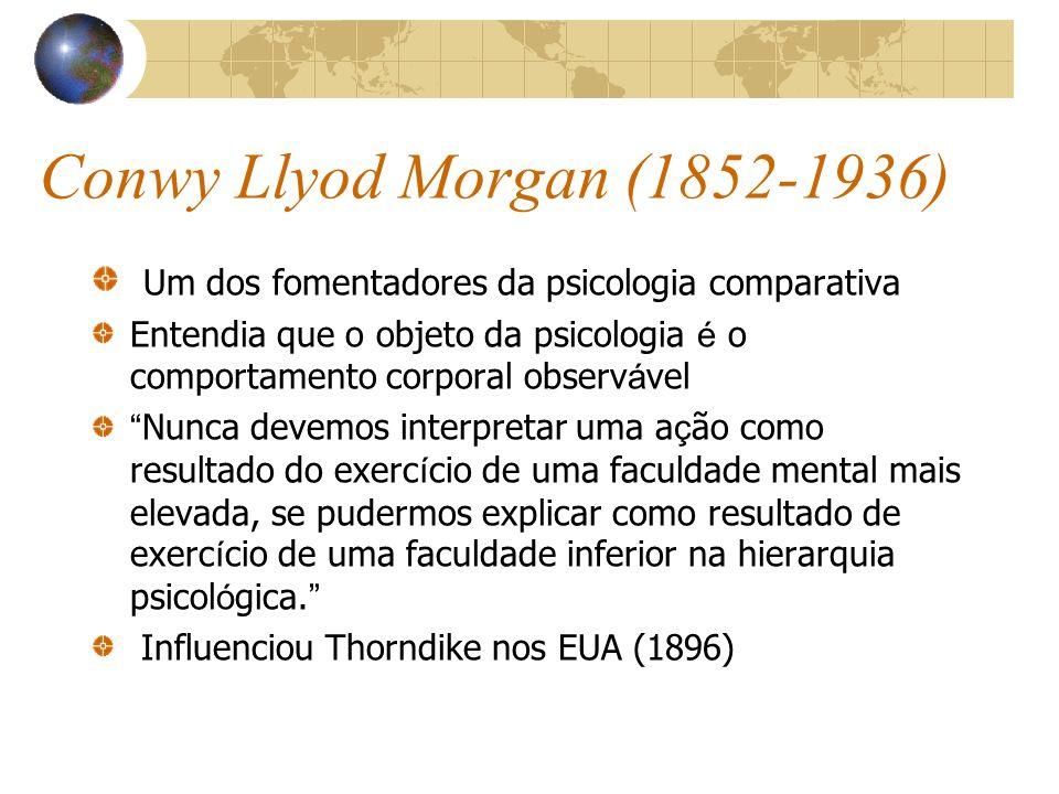 Conwy Llyod Morgan (1852-1936) Um dos fomentadores da psicologia comparativa.