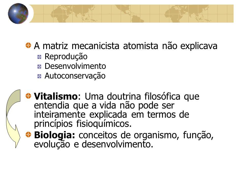 A matriz mecanicista atomista não explicava