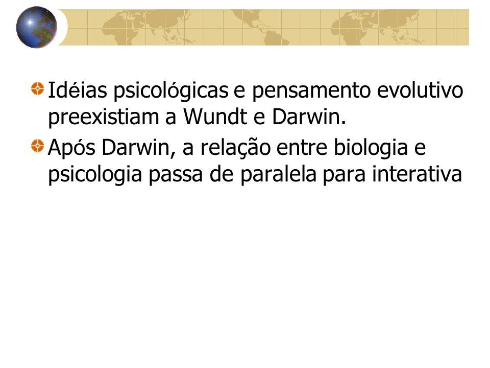 Idéias psicológicas e pensamento evolutivo preexistiam a Wundt e Darwin.