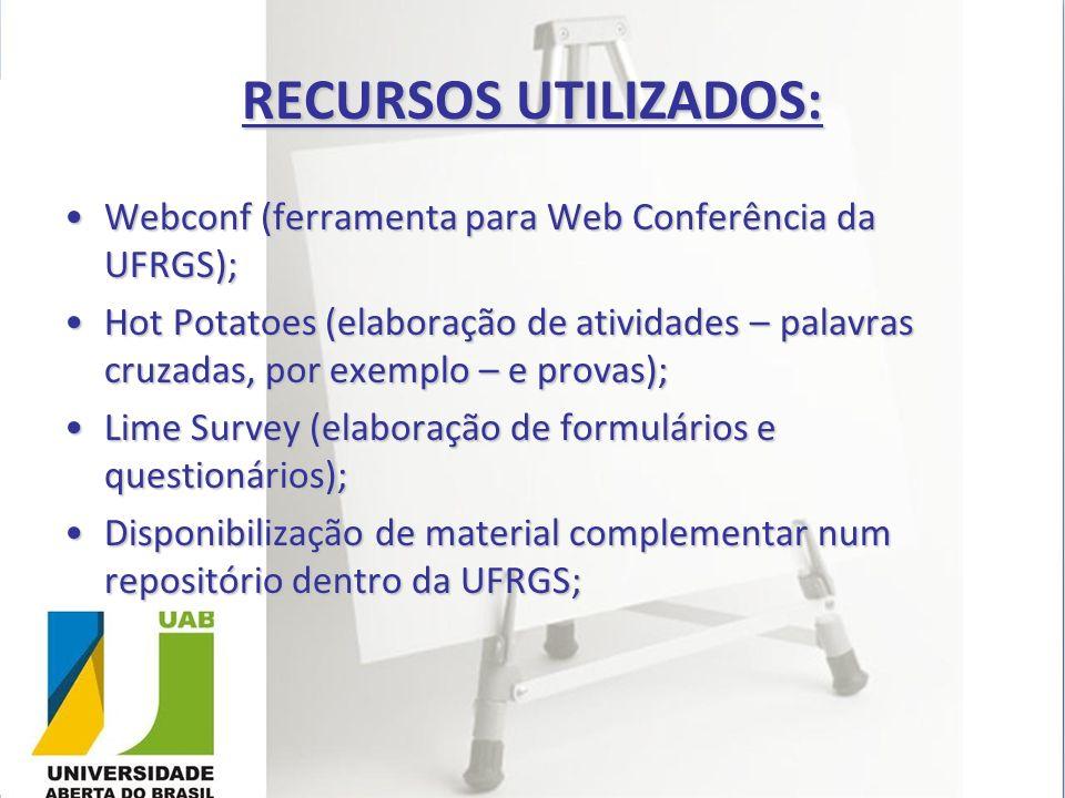 RECURSOS UTILIZADOS: Webconf (ferramenta para Web Conferência da UFRGS);
