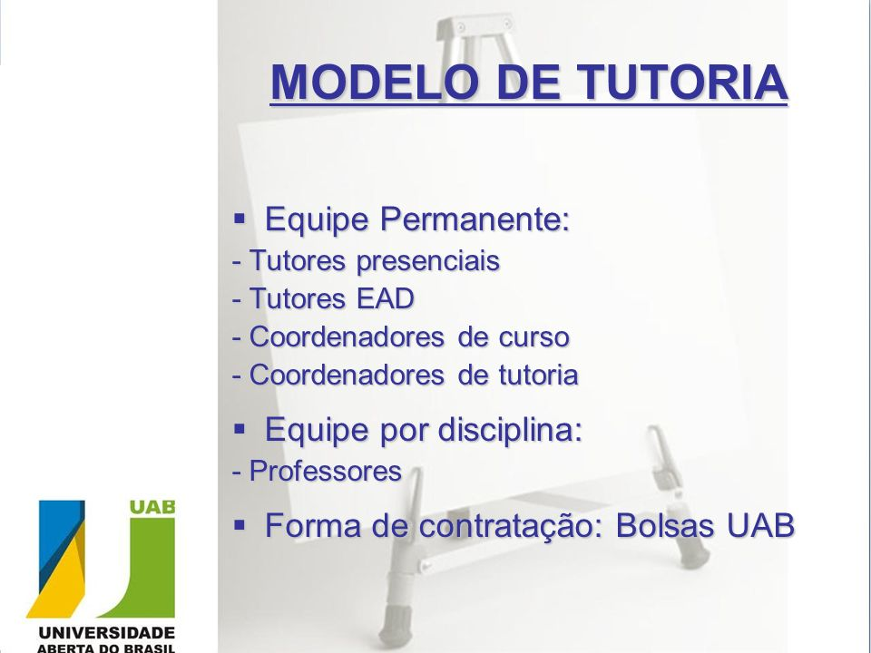 MODELO DE TUTORIA Equipe Permanente: Equipe por disciplina: