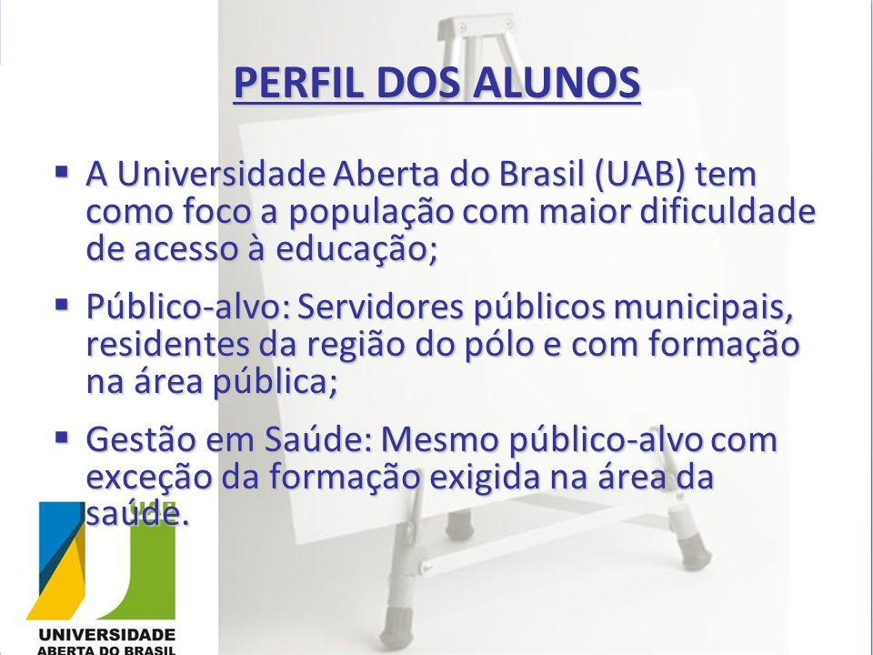 PERFIL DOS ALUNOS A Universidade Aberta do Brasil (UAB) tem como foco a população com maior dificuldade de acesso à educação;