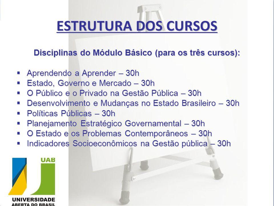 Disciplinas do Módulo Básico (para os três cursos):
