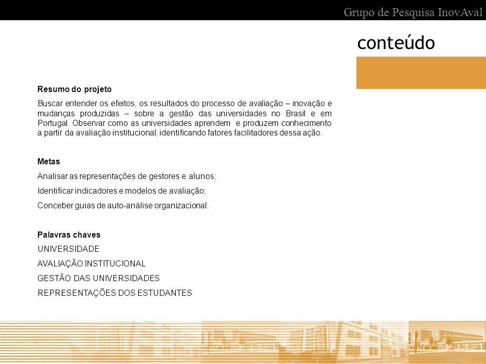 conteúdo Grupo de Pesquisa InovAval Resumo do projeto