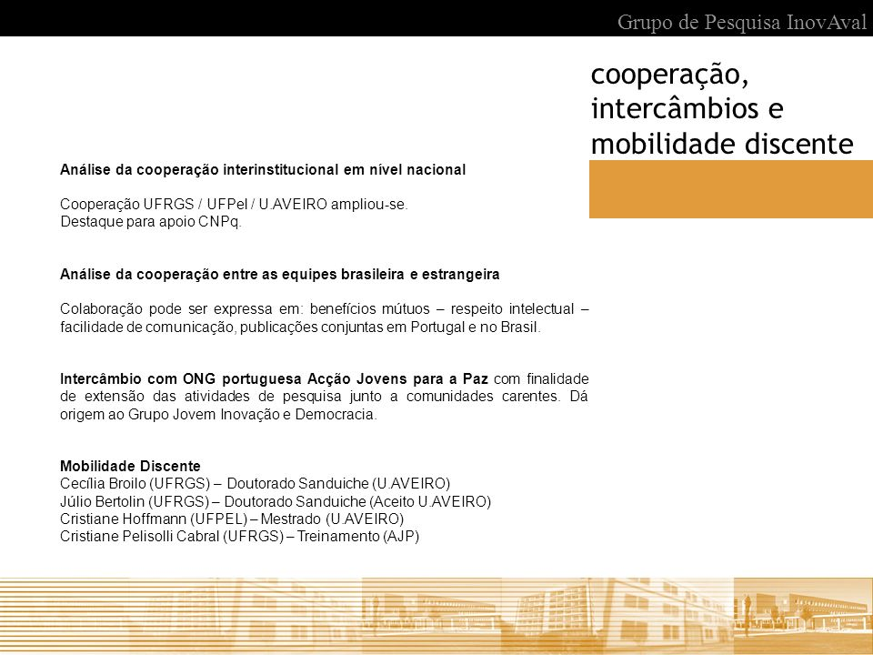 cooperação, intercâmbios e mobilidade discente
