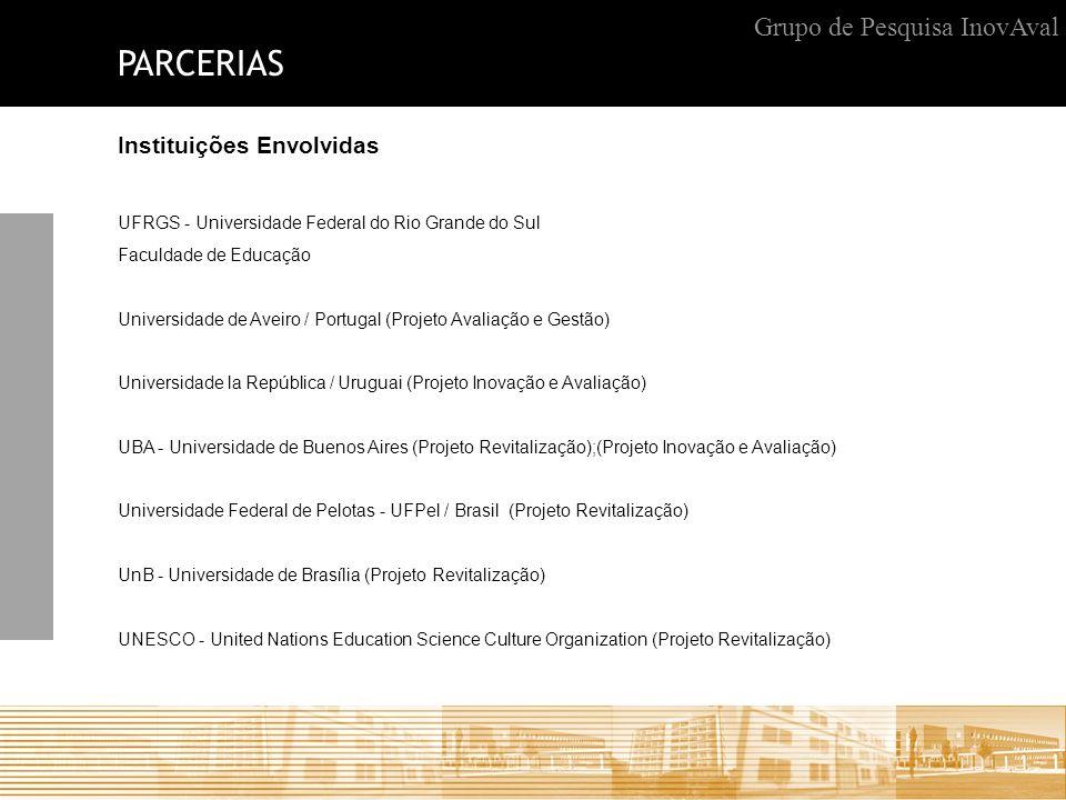 PARCERIAS Grupo de Pesquisa InovAval Instituições Envolvidas