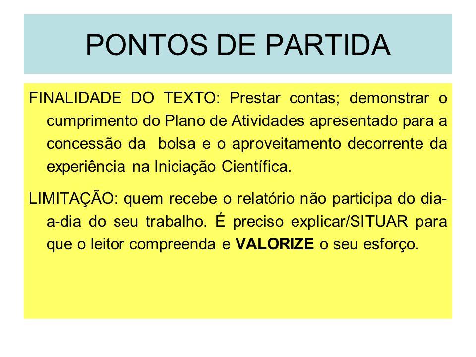 PONTOS DE PARTIDA