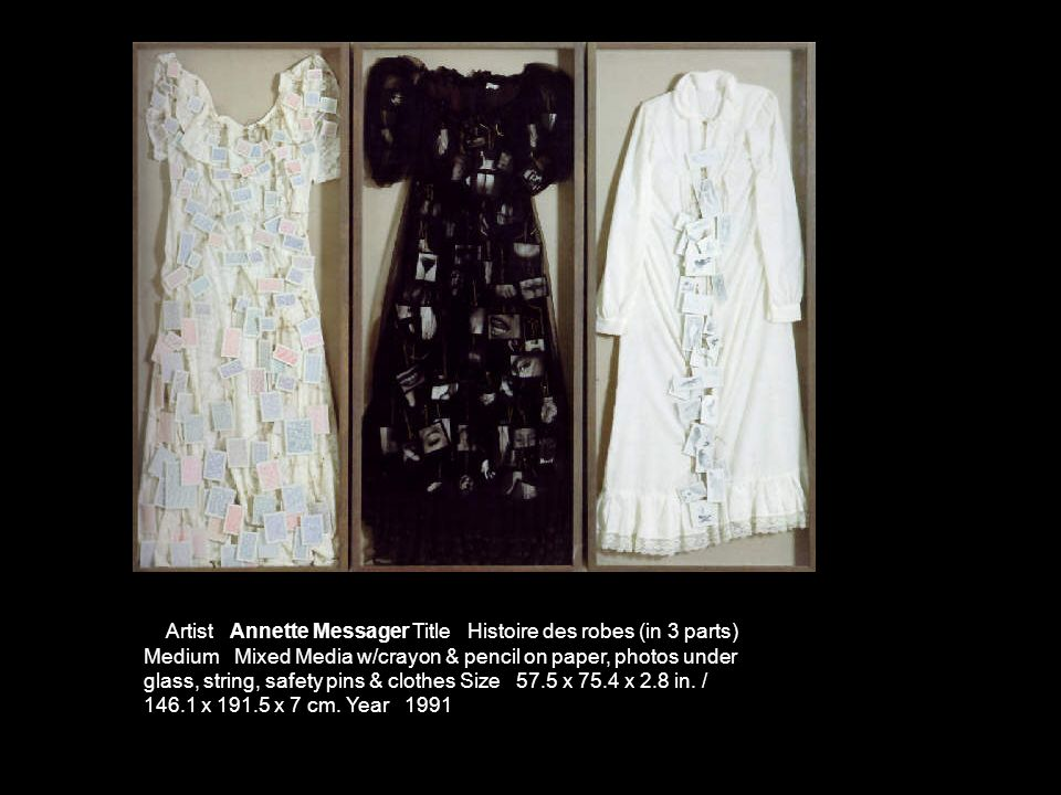 Artist Annette Messager Title Histoire des robes (in 3 parts) Medium Mixed Media w/crayon & pencil on paper, photos under glass, string, safety pins & clothes Size 57.5 x 75.4 x 2.8 in.