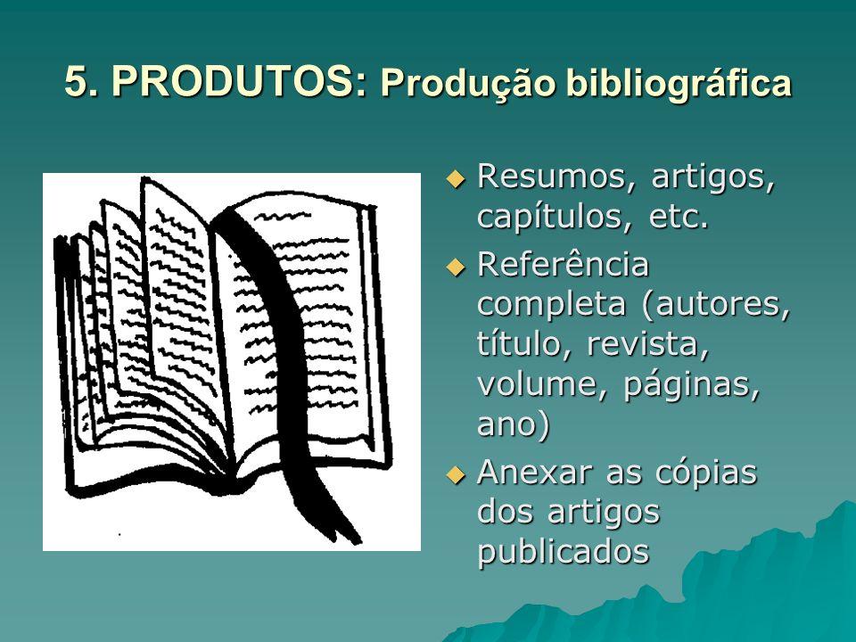 5. PRODUTOS: Produção bibliográfica