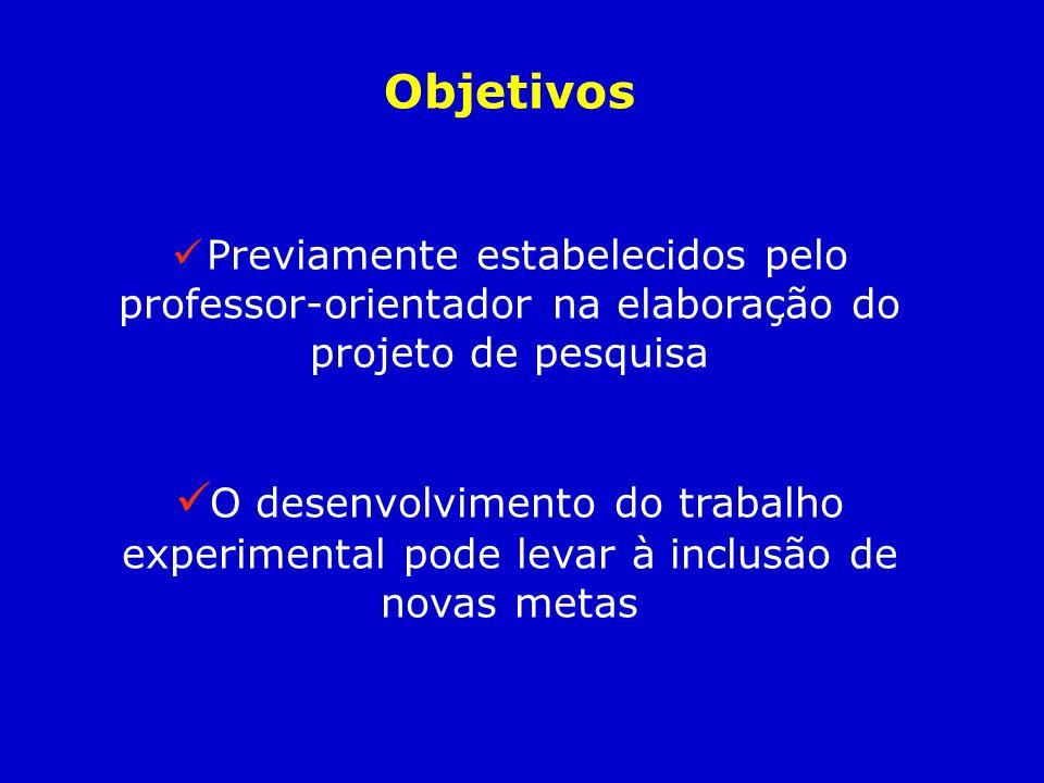 Objetivos Previamente estabelecidos pelo professor-orientador na elaboração do projeto de pesquisa.