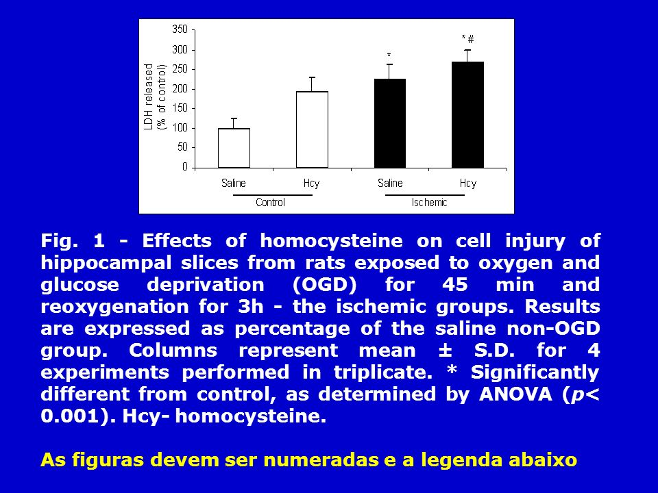 Fig. 1 - Effects of homocysteine on cell injury of hippocampal slices from rats exposed to oxygen and glucose deprivation (OGD) for 45 min and reoxygenation for 3h - the ischemic groups. Results are expressed as percentage of the saline non-OGD group. Columns represent mean ± S.D. for 4 experiments performed in triplicate. * Significantly different from control, as determined by ANOVA (p< 0.001). Hcy- homocysteine.