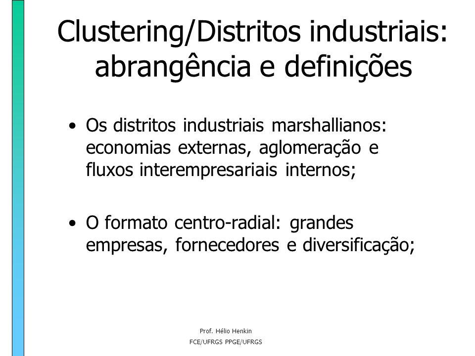 Clustering/Distritos industriais: abrangência e definições