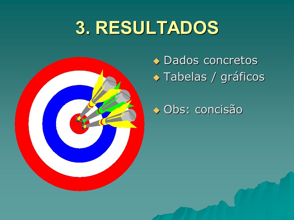 3. RESULTADOS Dados concretos Tabelas / gráficos Obs: concisão