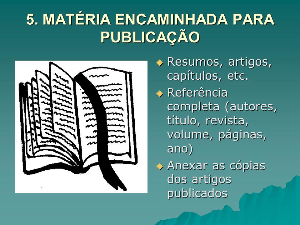 5. MATÉRIA ENCAMINHADA PARA PUBLICAÇÃO