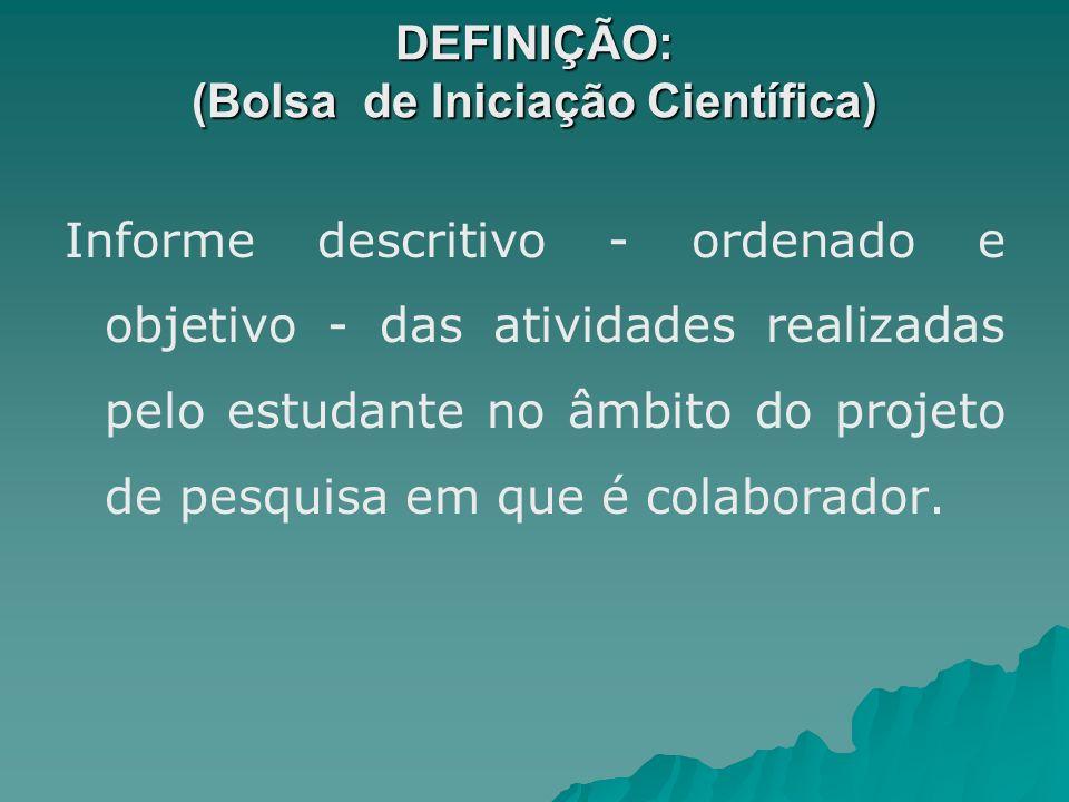 DEFINIÇÃO: (Bolsa de Iniciação Científica)