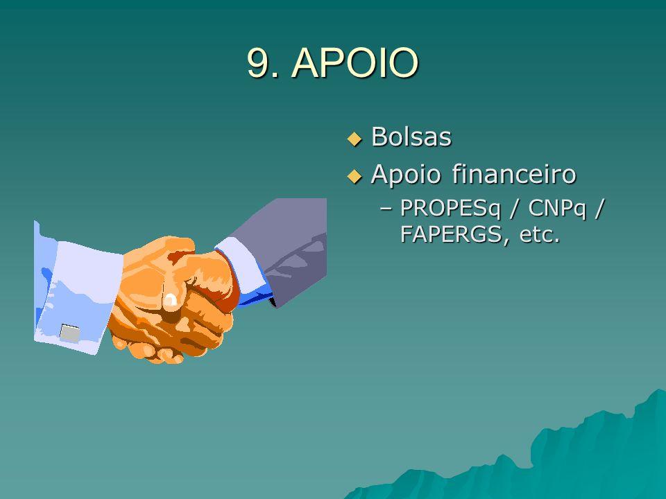 9. APOIO Bolsas Apoio financeiro PROPESq / CNPq / FAPERGS, etc.