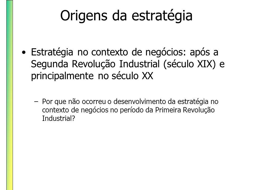 Origens da estratégia Estratégia no contexto de negócios: após a Segunda Revolução Industrial (século XIX) e principalmente no século XX.