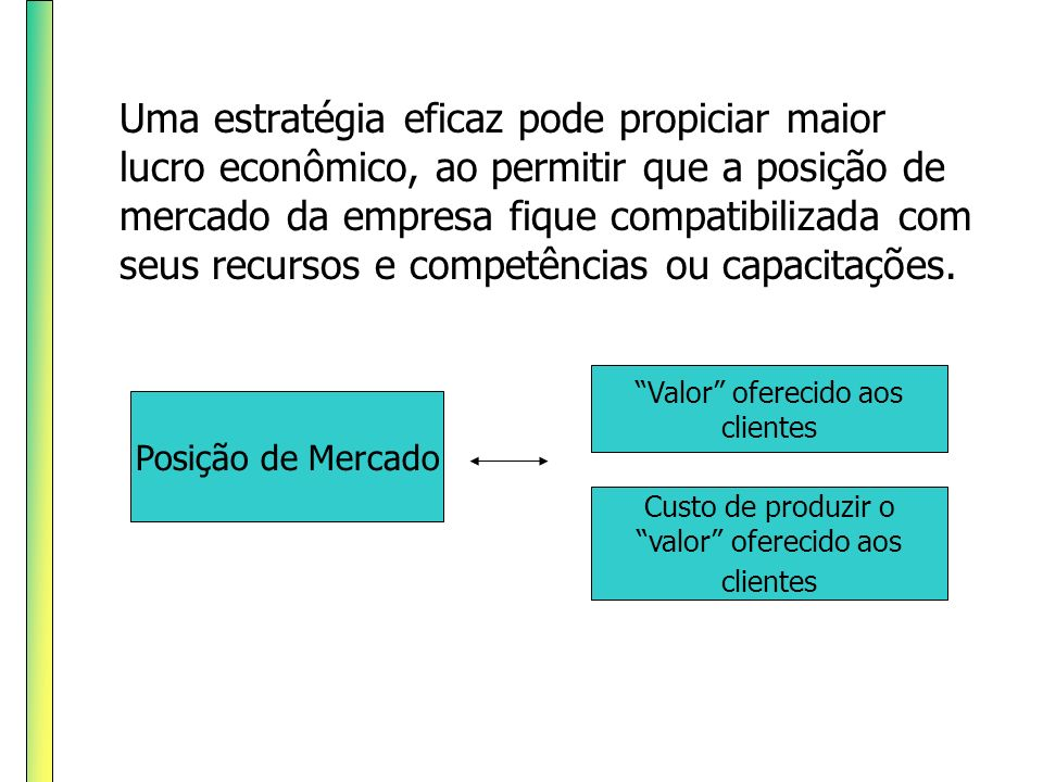 Uma estratégia eficaz pode propiciar maior lucro econômico, ao permitir que a posição de mercado da empresa fique compatibilizada com seus recursos e competências ou capacitações.