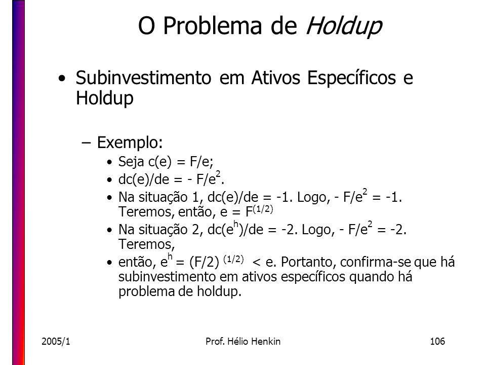 O Problema de Holdup Subinvestimento em Ativos Específicos e Holdup