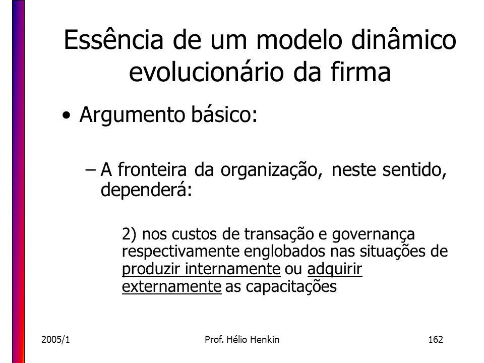 Essência de um modelo dinâmico evolucionário da firma