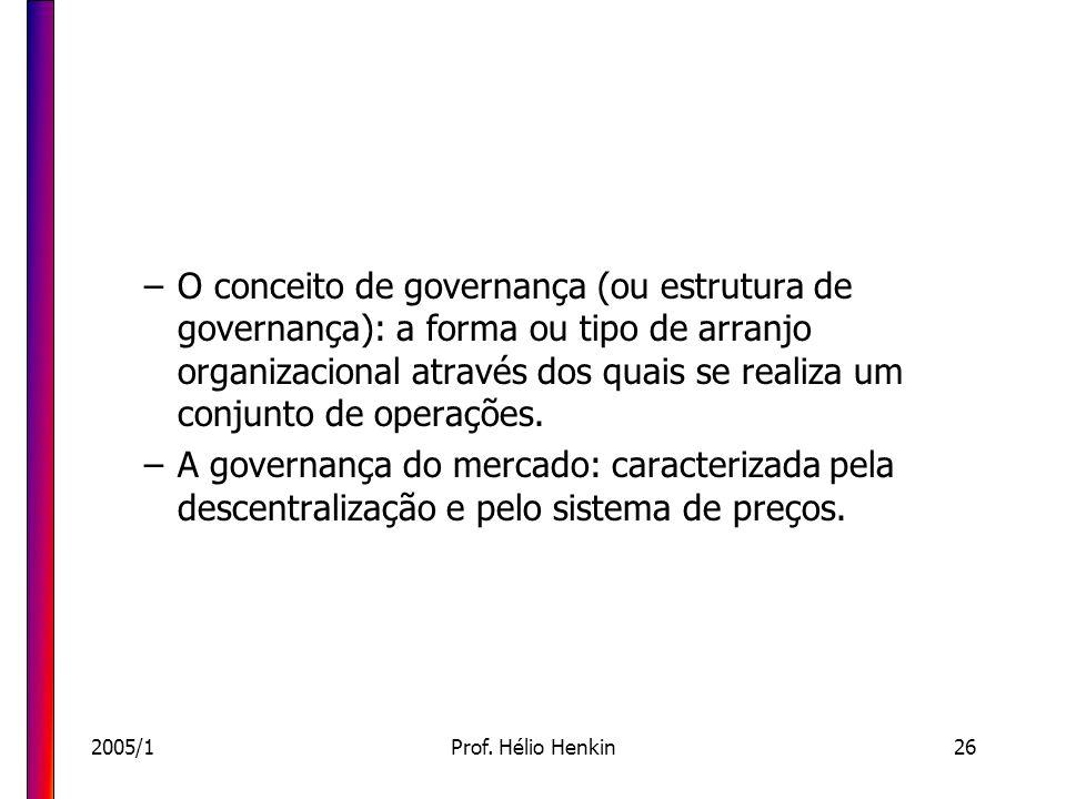 O conceito de governança (ou estrutura de governança): a forma ou tipo de arranjo organizacional através dos quais se realiza um conjunto de operações.